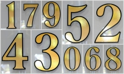 1 Gold House Number Outline Shadow