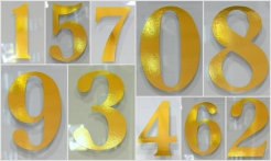 1 Gold House Number No Shadow