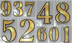2 Gold House Numbers Outline Shadow