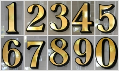 2 Gold House Numbers Drop Shadow