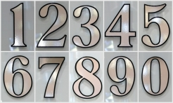 3 Silver House Numbers Outline Shadow