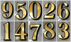 3 Gold House Numbers Drop Shadow