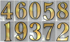 4 Gold House Numbers Outline Shadow