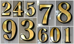 4 Gold House Numbers Drop Shadow