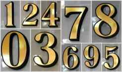 5 Gold House Numbers Drop Shadow